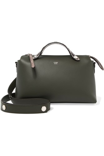 Fendi By The Way Small Elaphe Trimmed Leather Shoulder Bag Green sRjTpvg