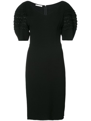 Oscar de la Renta Exaggerated Sleeve Dress Women Nylon Spandex Elastane Virgin Wool 4 Black wtIF2