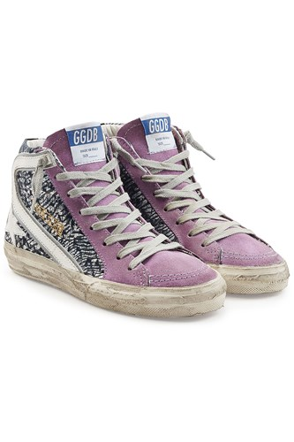 Golden Goose Deluxe Brand Slide High Top Sneakers With Leather And Suede Multicolored E2SkTitGy