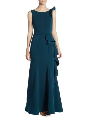 Nero by Jatin Varma Side Ruffle Gown Teal 8R4YA
