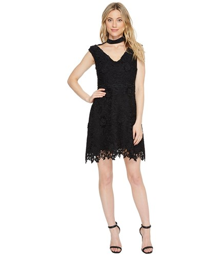 Dress Neck Dress Segal Flare Cap Fit Black Sleeve V Shelli Women's by Laundry AwqHzY