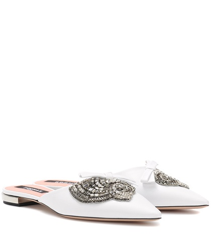Rochas Embellished Leather Slippers White fXqT6oh5l