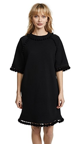 Marc Jacobs Sweatshirt Dress With Pom Poms Black F27lN00n