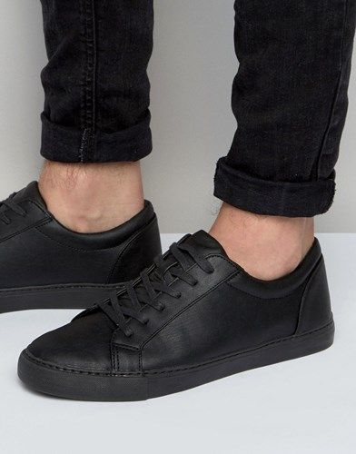 Asos Lace Up Trainers In Black Black pfNMQY