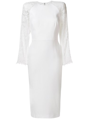 Alex Perry Lace Embroidered Fitted Dress White vNQpE7tLn