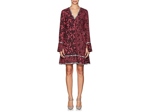 Print Silk Line Proenza Abstract Dress Burgundy Schouler A Women's qOqt1R
