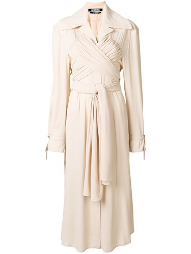 Jacquemus Wrap Front Trench Dress Nude And Neutrals 9qX4wiaMiE