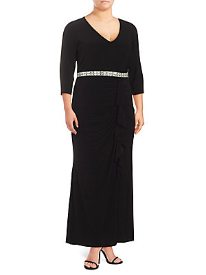 Marina, Plus Size Beaded Waist Ruffle Gown Black