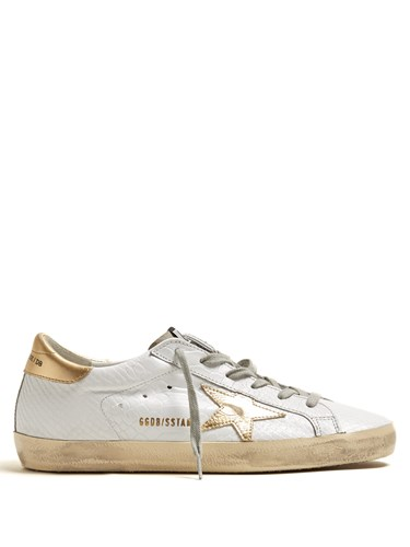 Golden Goose Super Star Low Top Leather Trainers White Gold wG9SBD