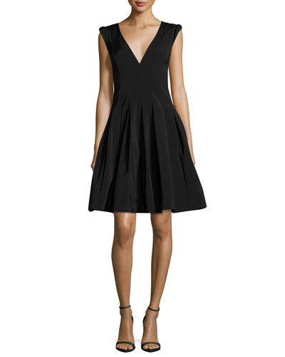 Halston V Neck Cap Sleeve Fit And Flare Cocktail Dress Black bAGP5oQC