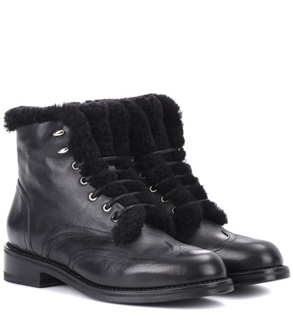 Rag and Bone Cozen Shearling Lined Leather Boots Black NAhbGKdFr