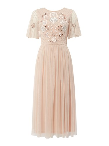 Frock and Frill Embellished Round Neck Midi Dress Pink n55rort6DN