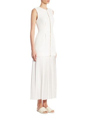 Mother of Pearl Rona Tweed And Pleated Maxi Dress White 7IeoMZPE