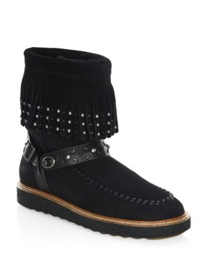 Coach Roccasin Shearling Lined Suede Boots Black L3WV6KgOQm