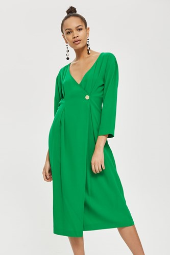 Topshop Crepe Popper Midi Wrap Dress Green ETxy0KlY