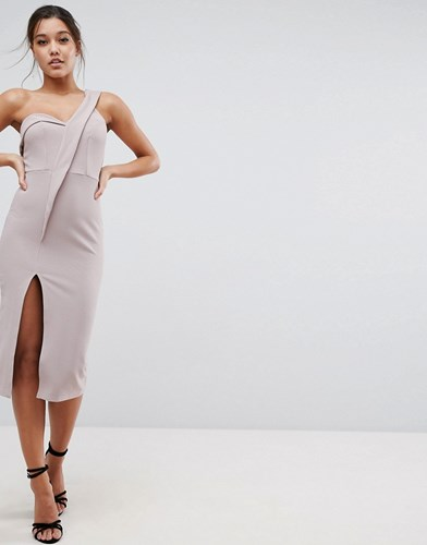Asos Crepe Tux One Shoulder Midi Dress Nude Beige 2E961
