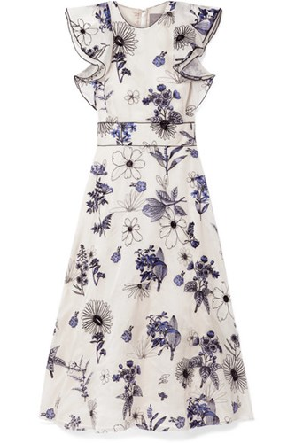 Lela Rose Ruffled Embroidered Silk Organza Midi Dress Ivory 9EgWF