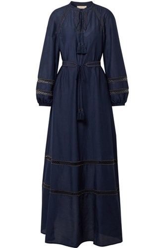 Tory Burch Sonia Lace Trimmed Cotton And Silk Blend Maxi Dress Navy PeviKO