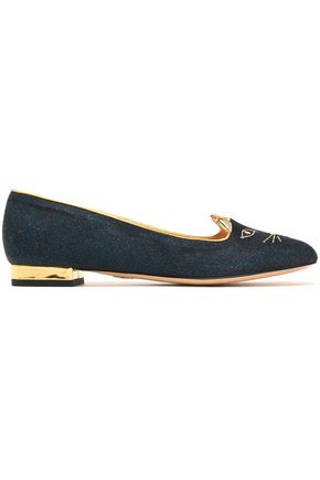 Charlotte Olympia Leather Trimmed Embroidered Glittered Velvet Slippers Storm Blue GLQw2pQJdR
