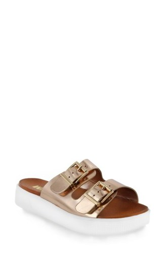 Gold Mia Sandal Platform Faux Venessa Rose Slide Leather xwW6X8nwq