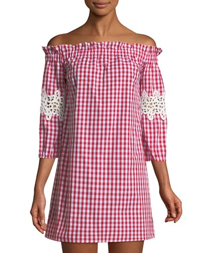 Romeo & Juliet Couture Off The Shoulder Gingham Mini Dress Red Pattern rmmum