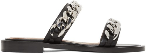 Givenchy Black Double Chain Flat Sandals touRYo40s