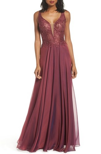 La Femme 'S Lace And Chiffon A Line Gown Boysenberry qICLbxgYHy
