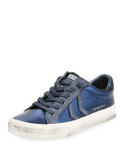 Vintage Havana Babe Distressed Leather Low Top Sneaker Dark Blue BOxTd9c