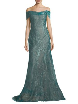 Rene Ruiz Off The Shoulder Gown Green nq14YoWxFc