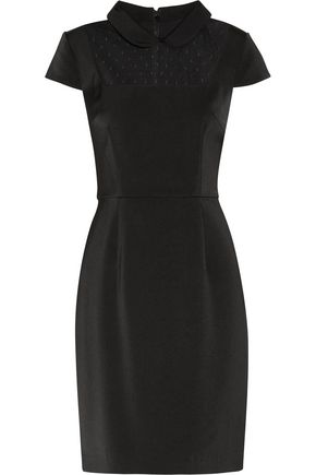 Mikael Aghal Mesh Paneled Crepe Dress Black 9jXcZceS
