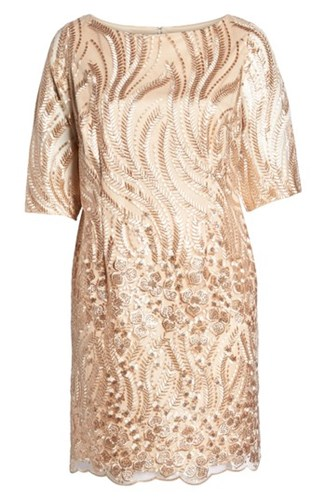 BRIANNA Plus Size Women's Sequin Embroidered Lace Sheath Dress Champagne OUCfXq