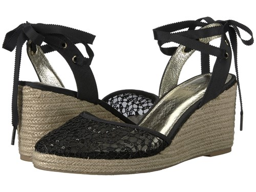 Adrianna Papell Pamela Black Martinique Lace Wedge Shoes pZnP6XubD