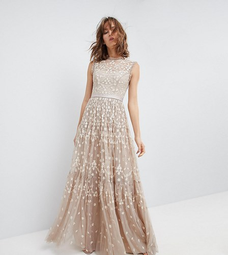 Needle & Thread High Neck Maxi Gown With Embroidery Embellishment Beige AyRJnHU5R3