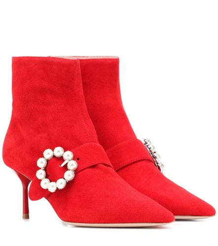 Miu Miu Embellished Suede Ankle Boots Red zb9zvJ