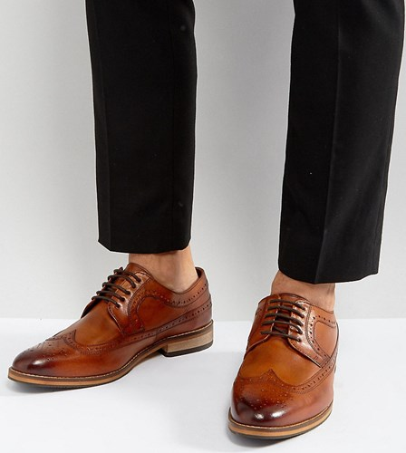 Asos Wide Fit Brogue Shoes In Tan Polished Leather Tan rLjPIRe