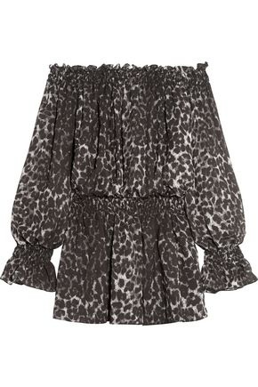 Norma Kamali Off The Shoulder Leopard Print Chiffon Mini Dress ZoIJEuGd