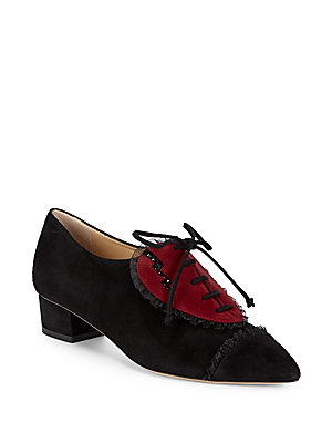 Charlotte Olympia Point Toe Valentine Leather Oxfords Black Red mn3be