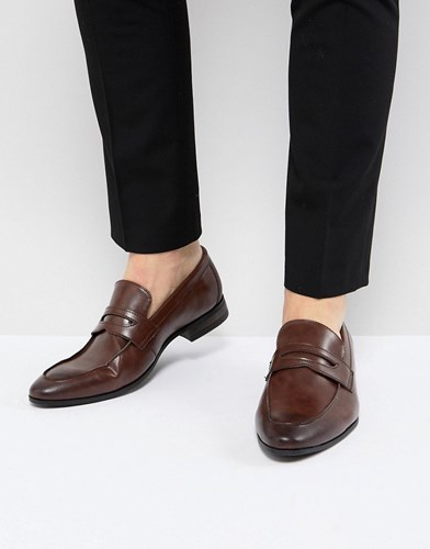 New Look Faux Leather Loafers In Dark Brown Dark Brown u0v30Oi6sy