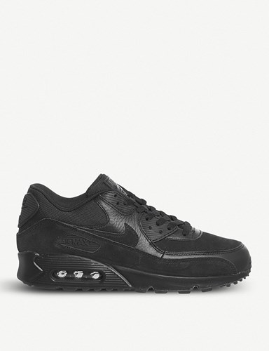 Nike Air Max 90 Leather And Mesh Trainers Black Black Prm WLhc3B