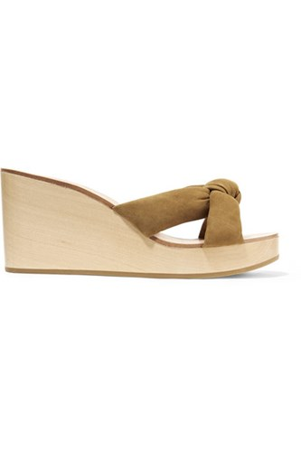 Loeffler Randall Taylor Knotted Suede Wedge Sandals Tan Gbp sH6otv