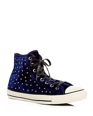 Converse Women's Chuck Taylor Embellished Velvet High Top Sneakers Eclipse Black fdXrq3EZp