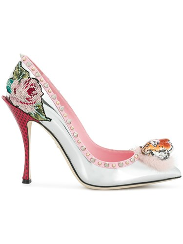 Dolce & Gabbana Tiger Front Stud Floral Detailed Pumps Leather Metallic Eu975A7