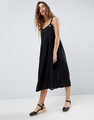 Asos Design Casual Smock Midi Sundress In Grid Texture With Knot Tie Black ZVYBQi1Rj