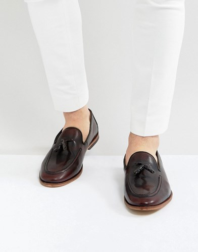 Asos Loafers In Burgundy Leather With Emboss Texture Burgundy Red ZSHrWpeP
