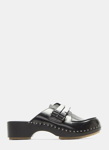 Adieu Type 113 Buckled Leather Clogs Black iMOzN