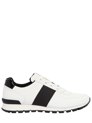 White Leather Race Match Prada Sneakers And Black Cordura q488w6