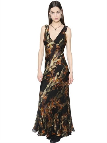 Floral Printed Silk Chiffon And Lame Dress