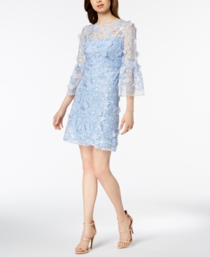 Jax Bell Sleeve Floral Applique Dress Light Blue jyvy1qupJ