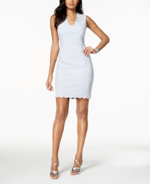 French Connection Scalloped Sheath Dress Salt Water ePVCuvctrk