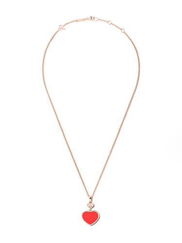 18kt rose gold Happy Hearts turquoise stone and diamond pendant necklace - Unavailable Chopard qls9B8